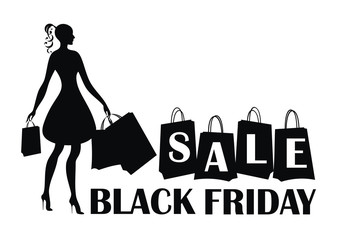 Black Friday sale vector illustration with the image of a beautiful woman with purchases. Black silhouette on white background