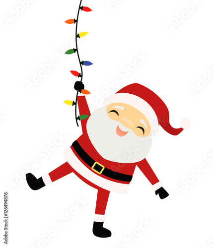 Quot Santa Claus Hanging From A String Of Christmas Lights