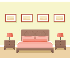 Hotel room or bedroom interior in flat style. Vector illustration.