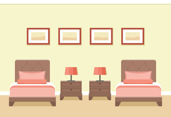 The interior of cozy hotel room with two beds in flat style. Vector illustration.
