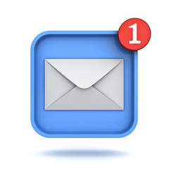 E mail notification one new email message in the inbox button concept isolated over white background with shadow 3D rendering