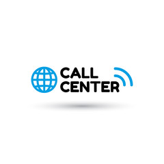 Blue logo call center in flat style. Globe and inscription call center with sound waves. Icon isolated on white background. Vector