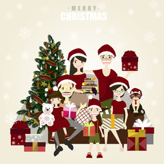Happy family posing for photo at Christmas.Vector/Illustrator