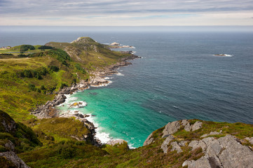 Sea shore landscape, view from the hill to lagoon with turquoise water and sea, Vagsoy island, Norway