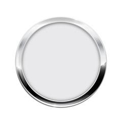 Round button.  White web icon with chrome frame