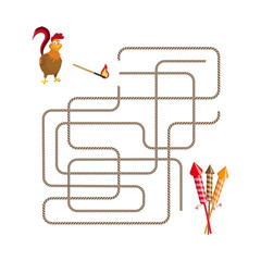Christmas games: maze. Help choose the rooster run salute.