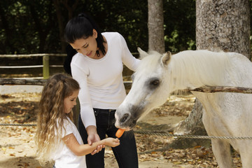 mother and daughter feeding carrot to horse