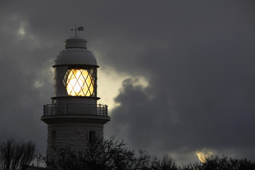 Lighthouse with clouds as background