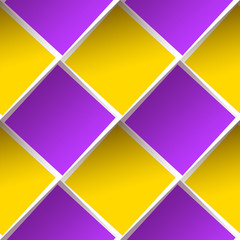 Seamless pattern, bright structure with paper violet and yellow squares. Abstract background.
