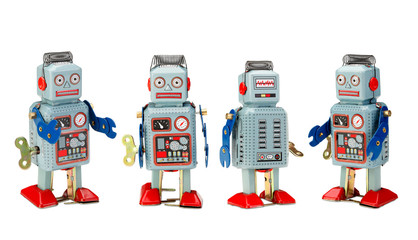 old classic tin robot toys isolated with clipping path