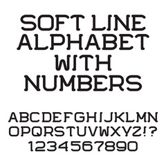 Black letters and numbers. Soft line font. Isolated english alphabet with figures.