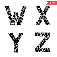 decorative letters W, X, Y, Z,  made from drops and blots