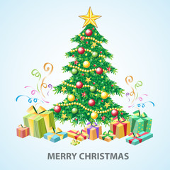 Christmas tree greeting card with gifts. Vector illustration