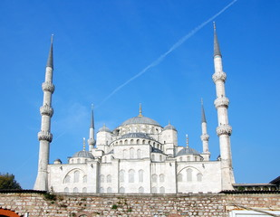 The Blue Mosque (Sultanahmet Camii)   in Istanbul, Turkey. View from the Bosphorus