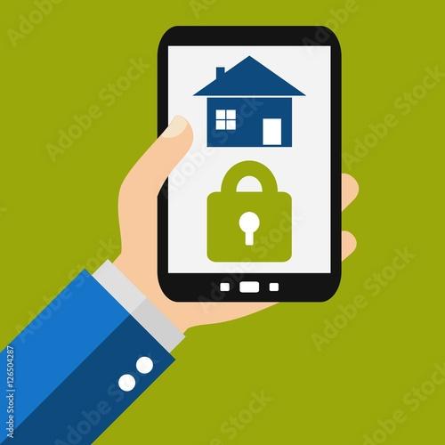 haus sichern mit dem smartphone fotos de archivo e im genes libres de derechos en. Black Bedroom Furniture Sets. Home Design Ideas