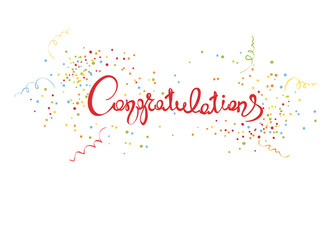 Congratulations/Handwritten calligraphy with confetti and streamers, banner, title