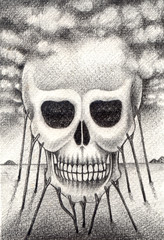 Art skull surreal. Hand drawing on paper.