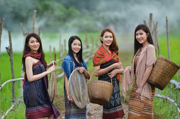Beautiful Thai local woman working happy,thailand