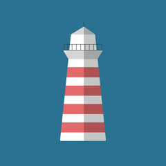 Lighthouse flat icon isolated vector illustration. Cartoon symbol in material flat style design.