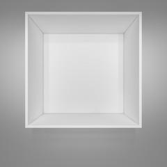Empty white bookshelf. Grey background