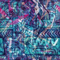 Design for square pocket, shawl, textile