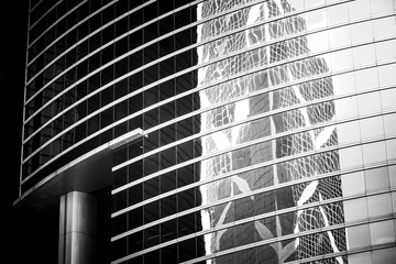 Hong Kong Commercial buildings Black and White tone