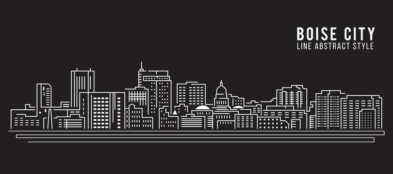 Cityscape Building Line art Vector Illustration design - Boise city