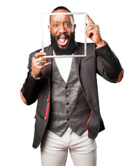 bussines black man holding frame