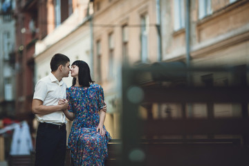 Romantic moment of the charming couple on the street