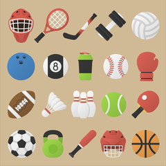Vector illustration. Set of sport equipment in flat design. Collection of sport inventory. Kit of sports stock