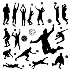 Volleyball Men Silhouette Set - Playing Serve Jumping Smash
