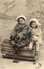French antique vintage postcard little girl.