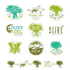 Set of label and badges for olive oil