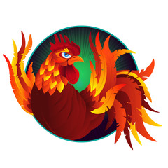 Colorful cartoon rooster, symbol of 2017 year by eastern calendar. Isolated on white. Vector Illustration.