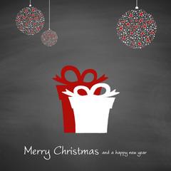 Geschenke und Weihnachtsschmuck   Merry Christmas and a happy new year auf Schiefertafel