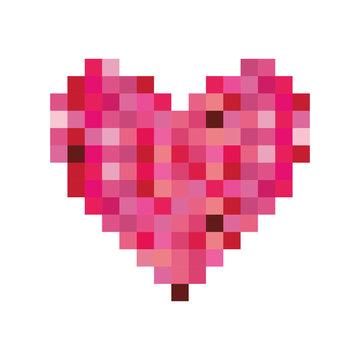pixelated heart cartoon icon image vector illustration design