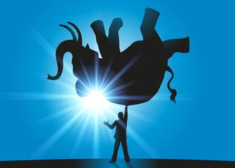 Eléphant - Homme d'affaires - Impossible - Défi - Fort