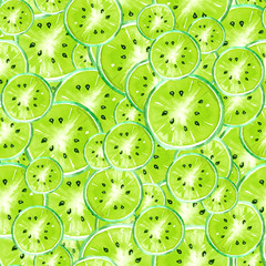 Vintage watercolor seamless background pattern consisting of slices of tropical fruit, kiwi. Green color