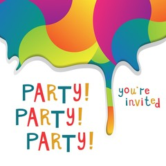 Invitation to a party. Vector illustration with colorful rainbow splash and hand drawn letters