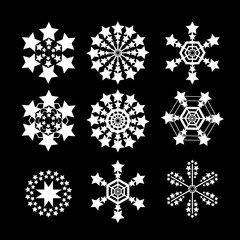 Snowflakes vector set. white snow flake icon set