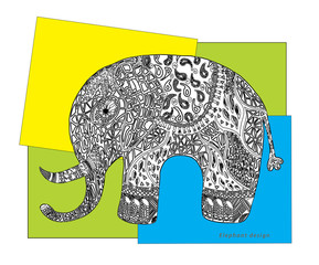 Elephant colour rectangle. Design.
