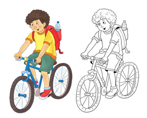 A cute boy traveling on bicycle. Illustration for children. Coloring book. Coloring pages. Funny cartoon characters isolated on white background.