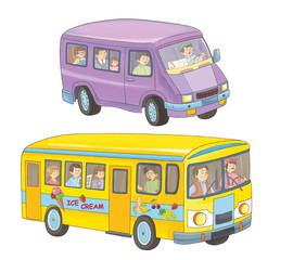 A bus and a minibus with passengers. Coloring book. Coloring page. Illustration for children. Cute cartoon characters isolated on white background