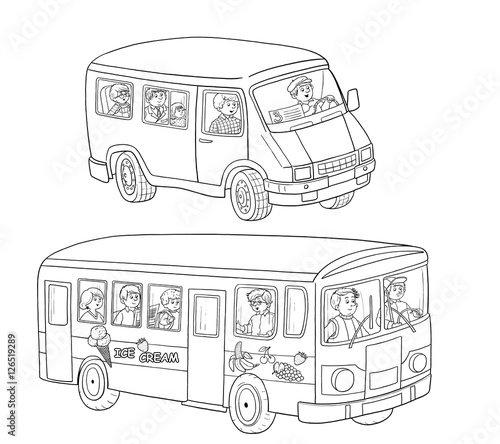 A Bus And Minibus With Passengers Coloring Book Page Illustration For