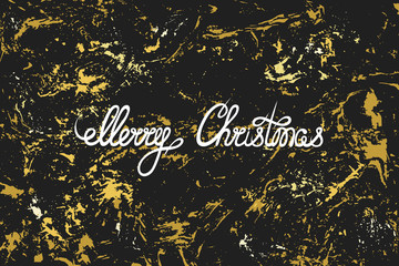 Merry Christmas. Hand lettering on a black shiny golden texture. Grunge. Greeting, invitation card, banner, label. Vector illustration.