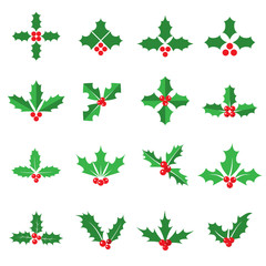 Holly berries and leaves icons. Collection of 16 colored Christmas symbols isolated on a white background. Vector illustration