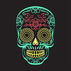 Skull with floral ornament on a black background. Vector illustration