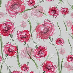 Watercolor Vintage seamless pattern with drawing roses flowers.