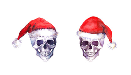 Human skulls in red santa hats. Christmas watercolor