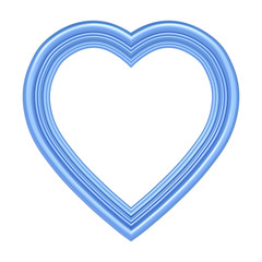 Blue heart picture frame isolated on white. 3D illustration.